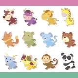 Grupo animal do ícone dos desenhos animados bonitos Imagens de Stock