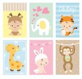 Grupo animal do tema dos cartões da festa do bebê ilustração royalty free