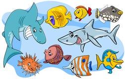 Grupo animal marino de los personajes de dibujos animados de los pescados stock de ilustración