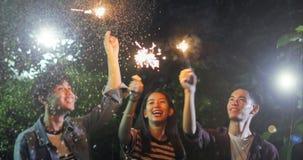 Grupo asiático de amigos que têm o assado exterior do jardim que ri w imagens de stock royalty free