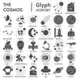 Grupo ASSINADO glyph do ícone do espaço, símbolos coleção da astronomia, esboços do vetor, ilustrações do logotipo, sinais da ciê ilustração royalty free