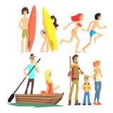 Grupo ativo do lazer do verão Imagens de Stock Royalty Free