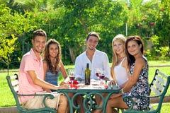 Grupo atractivo de amigos jovenes que beben el vino Imagen de archivo