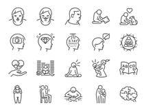 Grupo autístico do ícone da conscientização Incluiu os ícones como o autismo, a síndrome do estudioso, o ASD, o anormal, desordem ilustração stock