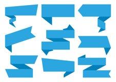 Grupo azul de bandeiras das fitas Ilustração do vetor ilustração do vetor