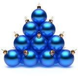 Grupo azul de las chucherías del ` s Eve del Año Nuevo de las bolas de la Navidad de la pirámide Foto de archivo