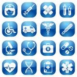 Grupo azul do ícone dos cuidados médicos Fotos de Stock