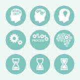 Grupo azul do ícone dos processos, projeto liso Ilustração do vetor Imagem de Stock Royalty Free