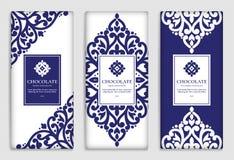 Grupo azul do vetor de projeto de empacotamento da barra de chocolate ilustração royalty free