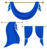 Grupo azul do vintage da cortina Fotos de Stock Royalty Free