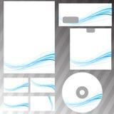 Grupo azul dos artigos de papelaria do conceito do swoosh Imagens de Stock Royalty Free