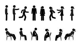 Grupo básico de figura ícone da vara do homem ilustração stock