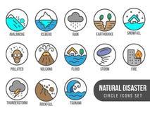 Grupo básico do ícone do círculo da catástrofe natural com o vulcão da maré que entra em erupção o projeto isolado inundação do v ilustração royalty free