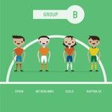Grupo B dos jogadores de futebol ilustração do vetor