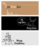 Grupo bandeiras sociais dos meios do Natal e do ano novo Fotos de Stock Royalty Free