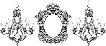 Grupo barroco fabuloso do quadro do espelho e do candelabro Ornamento cinzelados do vetor ricos luxuosos franceses Mobília rica v Foto de Stock