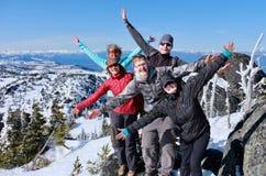 Grupo bem sucedido de amigos na parte superior da montanha fotografia de stock