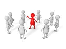 Grupo blanco del equipo del negocio 3d con el jefe rojo del líder Imagenes de archivo