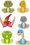 Grupo bonito da coleção dos desenhos animados dos dinossauros do bebê ilustração stock
