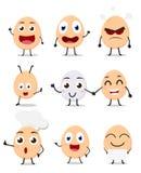 Grupo bonito da coleção dos desenhos animados do ovo ilustração stock