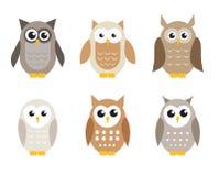 Grupo bonito da coruja dos desenhos animados Corujas nas máscaras do cinza Ilustração do vetor Fotografia de Stock