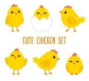 Grupo bonito da galinha dos desenhos animados Fotos de Stock
