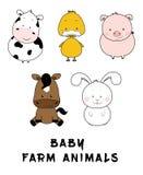 Grupo bonito da ilustração dos animais de exploração agrícola do bebê, vaca, pato, porco, cavalo, coelho Foto de Stock Royalty Free