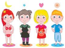 Grupo bonito da menina do miúdo ilustração stock