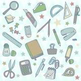 Grupo bonito de artigos de papelaria Ilustração Royalty Free