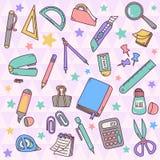 Grupo bonito de artigos de papelaria Ilustração do Vetor