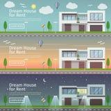 Grupo bonito de bandeiras lisas da Web do vetor no tema Real Estate moderno Imagens de Stock Royalty Free