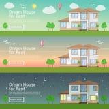 Grupo bonito de bandeiras lisas da Web do vetor no tema Real Estate moderno Foto de Stock