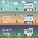 Grupo bonito de bandeiras lisas da Web do vetor no tema Real Estate moderno Imagem de Stock Royalty Free