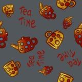 Grupo bonito de ilustrações do kitchenware e dos utensílios no fundo cinzento Elementos para o projeto ilustração royalty free