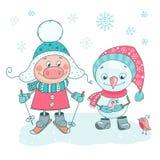 Grupo bonito de porco, de bonecos de neve, de pássaros e de flocos de neve ilustração do vetor