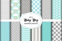 Grupo bonito de testes padrões sem emenda do bebê escandinavo com texturas da tela ilustração do vetor