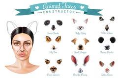Grupo bonito do ícone do construtor das caras do animal ilustração stock