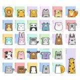 Grupo bonito do ícone dos animais ilustração do vetor