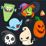 Grupo bonito do ícone dos caráteres do Dia das Bruxas dos desenhos animados Monstro, bruxa, vampiro, cabeça da abóbora, morte e f Fotos de Stock