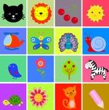 Grupo bonito do ícone dos desenhos animados Fotografia de Stock
