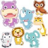 Grupo bonito do animal dos desenhos animados Imagens de Stock Royalty Free