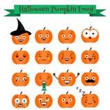 Grupo bonito do emoji da abóbora do Dia das Bruxas Emoticons, etiquetas, elemets do projeto Fotografia de Stock