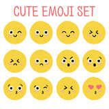 Grupo bonito do emoji Vetor Fotografia de Stock