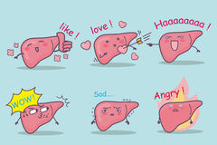 Grupo bonito do fígado dos desenhos animados ilustração stock