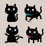 Grupo bonito do gato preto dos desenhos animados. Coleção engraçada. Imagens de Stock Royalty Free