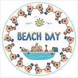 Grupo bonito do motivo da ilustra??o do vetor dos desenhos animados do pino do dia da praia do ver?o Castelo de areia, cubeta e p ilustração stock