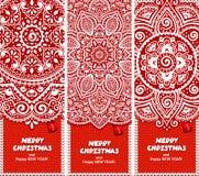 Grupo bonito do Natal de bandeiras com laço Fotos de Stock Royalty Free