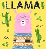 Grupo bonito do projeto gráfico de vetor da alpaca do lama dos desenhos animados Ilustração tirada mão do caráter do lama ilustração stock