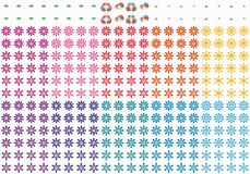 Grupo bonito do sorriso da flor de borboleta da folha dos desenhos animados ilustração royalty free