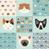 Grupo bonito do teste padrão do vetor dos gatos Foto de Stock Royalty Free
